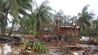 House flattened by typhoon in the Philippines.