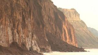 Landslips at Sidmouth cliffs
