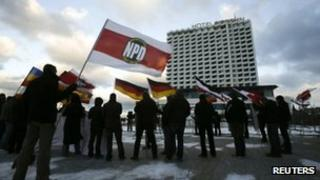 Supporters of Germany's far-right National Democratic Party (NPD) rally in Rostock, 5 December