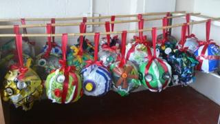 The baubles pictured before they were hung up