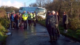 Bus in ditch