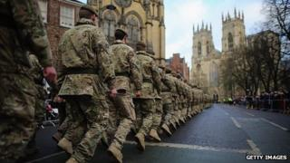 Members of 3rd Battalion The Yorkshire Regiment at York Minster