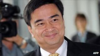 Thai Prime Minister Abhisit Vejjajiva arrives at Parliament in Bangkok (May 2011)