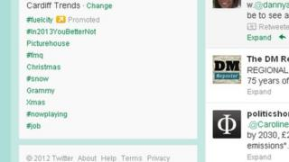 Screen grab of the Cardiff trends function on Twitter