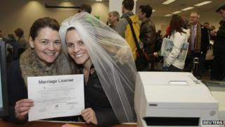 Jeri Andrews (L), 43, and Amy Andrews 33, hold up their marriage license in Seattle on 6 December 2012