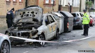 Burnt-out cars in Connaught Road, Hove