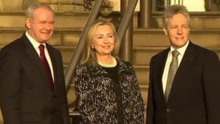 US Secretary of State Hillary Clinton at Stormont Castle with Northern Ireland's First and Deputy First Minister, Peter Robinson and Martin McGuinness