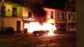 Car on fire in Belfast