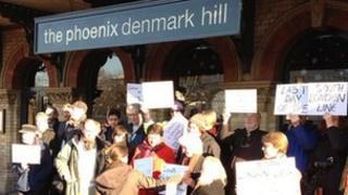Demonstrators at Denmark Hill
