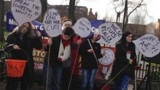 Anti-cuts protestors in Manchester