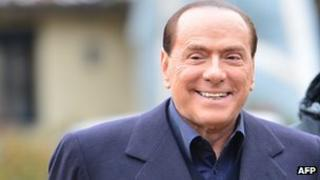 Italian former prime minister and owner of the AC Milan football team, Silvio Berlusconi at the AC Milan training grounds in Milanello on 8 December.