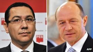 Prime Minister-designate Victor Ponta (left) and President Traian Basescu. File photo
