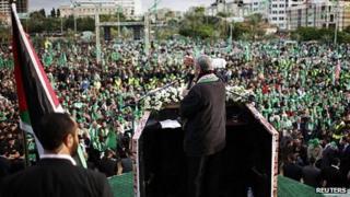 Khaled Meshaal addresses rally in Gaza. 8 Dec 2012