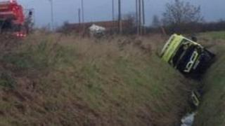 Ambulance in a ditch