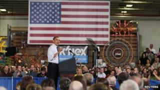 US President Barack Obama in Hatfield Pennsylvania 30 November 2012