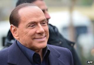 Former Italian Prime Minister Silvio Berlusconi at the AC Milan training grounds in Milanello, 8 December