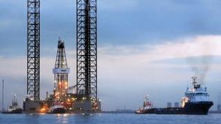 Ensco 70 en route to the Ketch-8z well, offshore UK