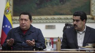 Hugo Chavez (left) and Nicolas Maduro (right) in the Miraflores palace on 8 December