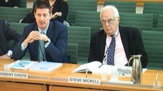 Robert Chote (left) addressing the Treasury Committee