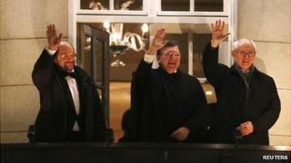 President of the European Parliament Martin Schulz (L), President of the European Commission Jose Manuel Barroso (C) and President of the European Council Herman Van Rompuy