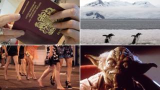 Clockwise from top left: A UK passport, Antartica, Yoda, women revellers