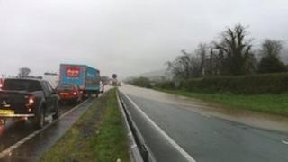 Flooding on the A55 at Bangor, Gwynedd