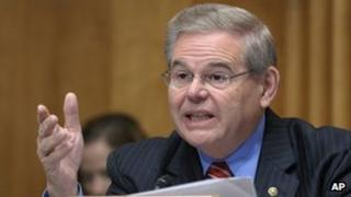 Senator Robert Menendez speaks on Capitol Hill in Washington 1 December 2011