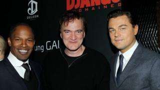 Jamie Foxx, director Quentin Tarantino and Leonardo DiCaprio at a screening of Django Unchained