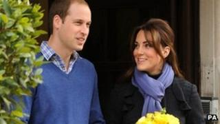 Duke and Duchess of Cambridge leaving hospital