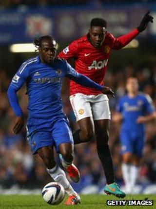 Victor Moses of Chelsea and Danny Welbeck of Manchester United