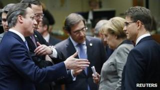 UK PM David Cameron (left) meeting other EU leaders in Brussels, 13 Dec 12