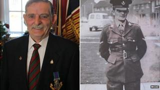 Joe McKenna with his medal and when he was a serving soldier