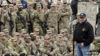 Leon Panetta addresses US troops at Kandahar airbase