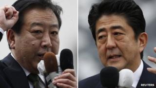 PM Yoshihiko Noda (L) and Shinzo Abe (R), file images