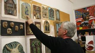 Mike Griffiths with artwork