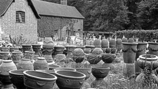The Compton Pottery stock yard in 1939, taken from an original negative by DW Gardner
