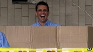Miranda State Governor Henrique Capriles casts his vote on 16 December 2012