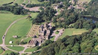 Aerial view of Margam Country Park