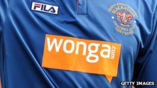 Wonga logo on Blackpool shirt