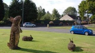 Giant willow rabbit on the Walls roundabout in Barnwood, Gloucester