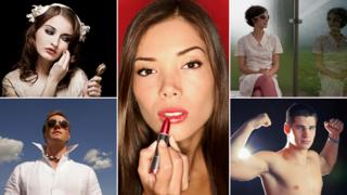 A composite image showing (clockwise): A woman powdering her face, a woman applying red lipstick, a woman looking at her own reflection in a window, a man pulling his muscles and a man wearing sunglasses with his collar turned up. All images THINKSTOCK