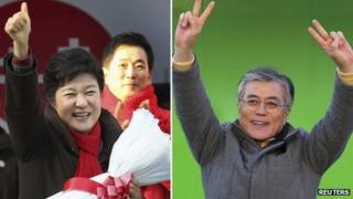 Park Geun-hye (L) campaigns in Gunpo and Moon Jae-in campaigns in Incheon on 17 December 2012