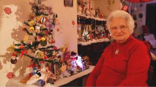 Brenda Downham and her 82-year-old Christmas tree