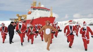 HMS Protector santa run