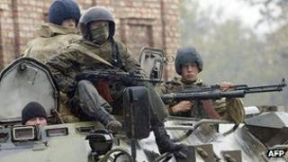 Russian troops in Grozny, Chechnya - file pic