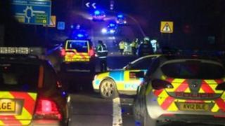 Police cars at crash scene
