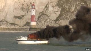 Knowwanda on fire off Beachy Head
