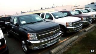 Chevrolet pickup trucks on sale at a garage in Michigan