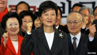 South Korea's president-elect Park Geun-hye (centre)