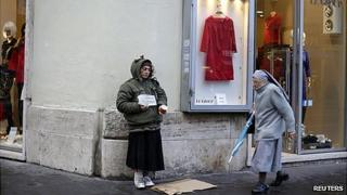 Nun passing by a beggar in Rome, 10 Dec 12